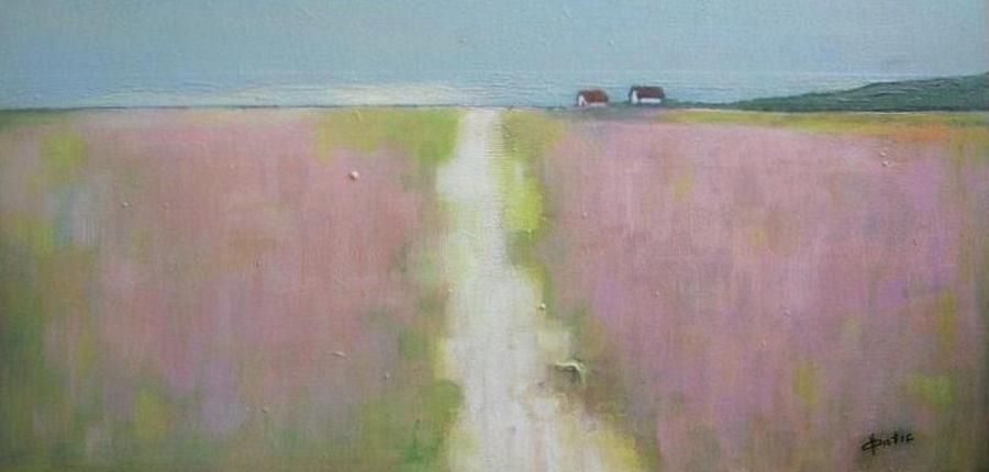 Path Trough Lavender Field Painting