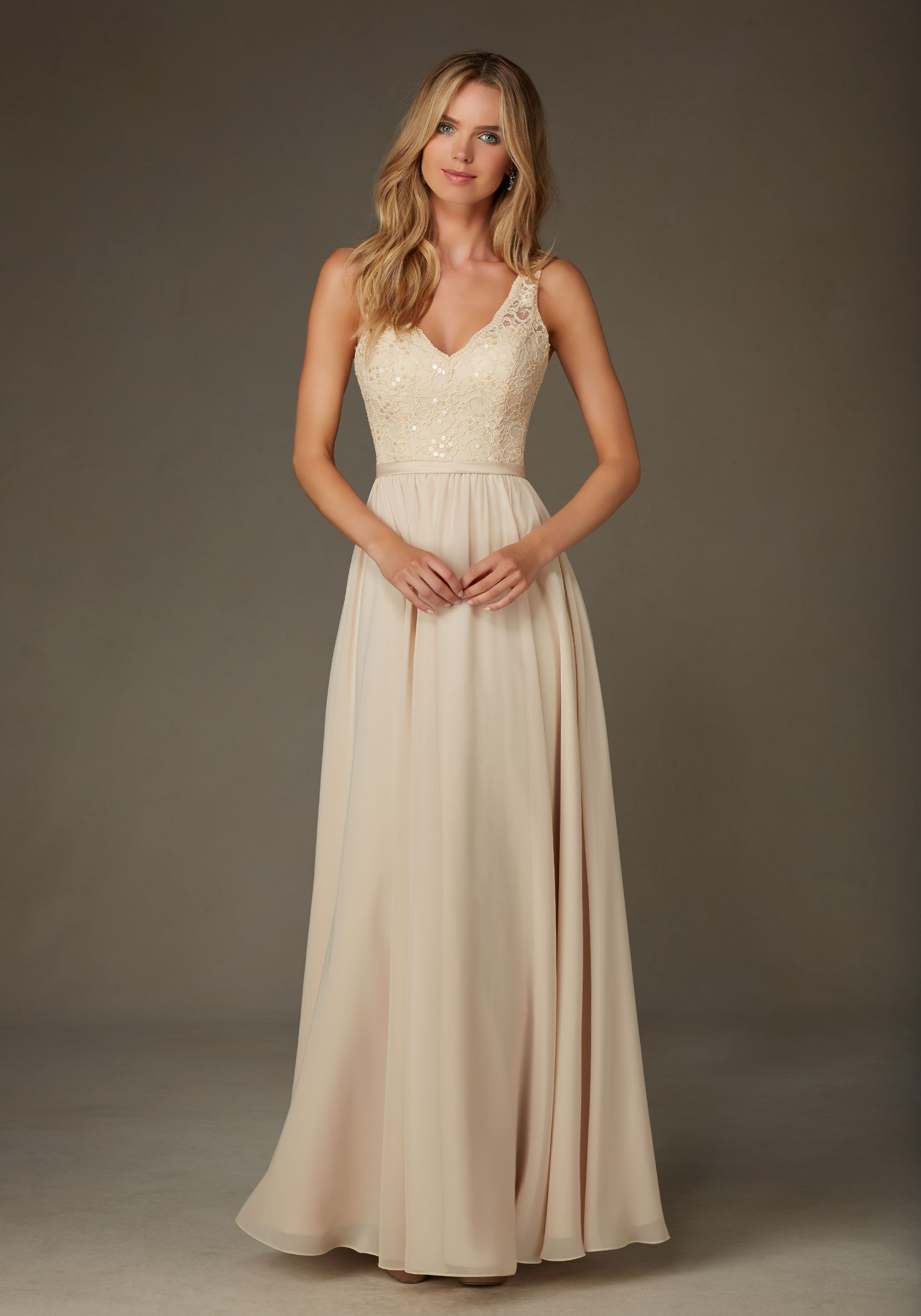 Romantic beaded lace with chiffon bridesmaid dress designed by romantic beaded lace with chiffon bridesmaid dress designed by madeline gardner shown in champagne ombrellifo Choice Image