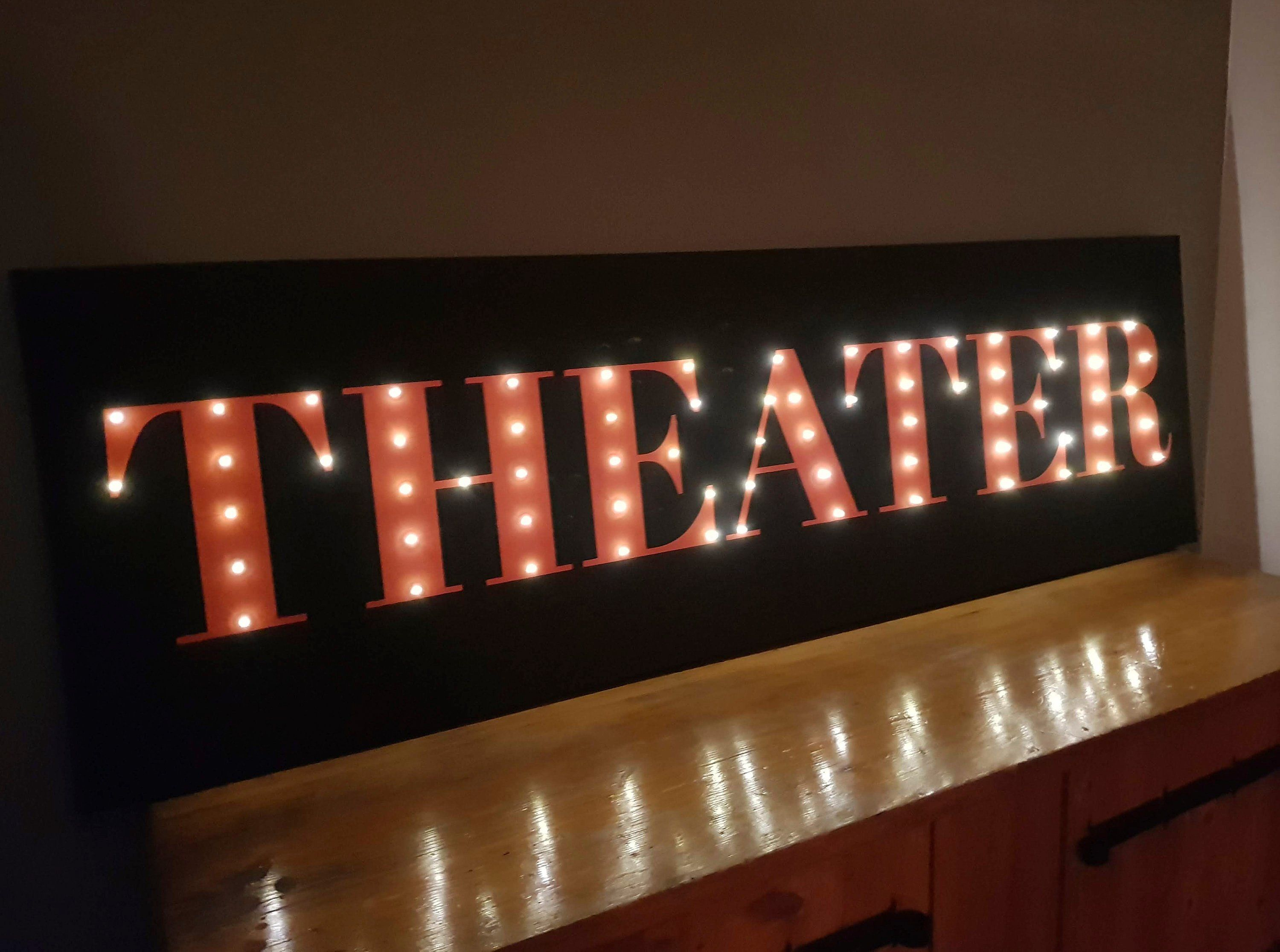 Huge Theater Sign Home Theater Decor Light Up Theater Sign Etsy In 2020 Light Up Signs Home Theater Decor Light Up Letters