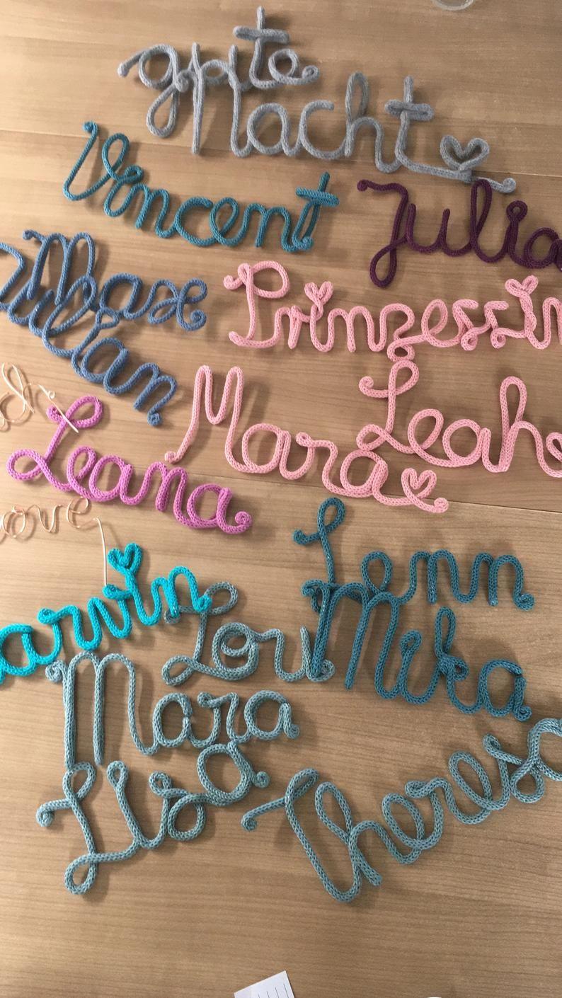 Schriftzug aus Draht und Wolle Name Kinderzimmer