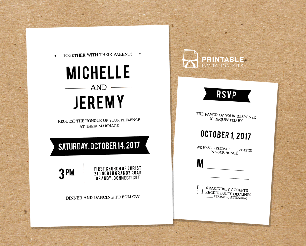 Rsvp To Wedding Invitation Wording: DIY Free PDF Printable Wedding Invitation And RSVP
