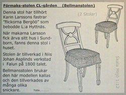 Förmaksstolen CL-gården, Bellmansstolen kit