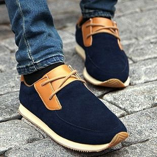BULE New 2015 High Top Men Shoes Spring Winter Leather Fur