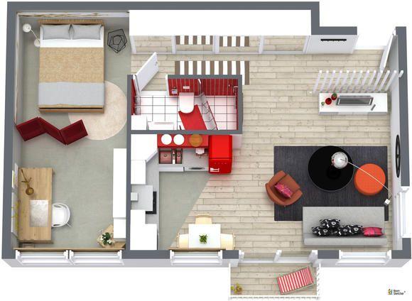 RoomSketcher Wohnidee Kleine Wohnung einrichten - 3D Grundriss - wohnideen 40 qm