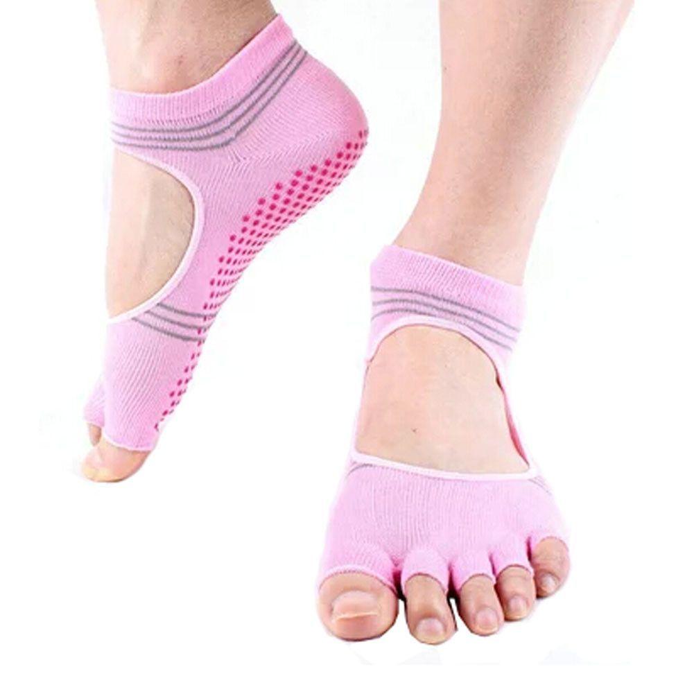 Women's Non Slip Half Toe Yoga Socks Cotton Toeless&Backless Pilates Socks,Pink