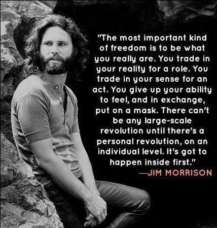 "James Douglas ""Jim"" Morrison (December 8, 1943 – July 3, 1971) was an American singer-songwriter and poet, best remembered as the lead singer of Los Angeles rock band The Doors.[1] From a young age, Morrison became infatuated with the works of Friedrich Nietzsche, Arthur Rimbaud and Jack Kerouac, often incorporating their work into his lyrics. http://en.wikipedia.org/wiki/Jim_Morrison"