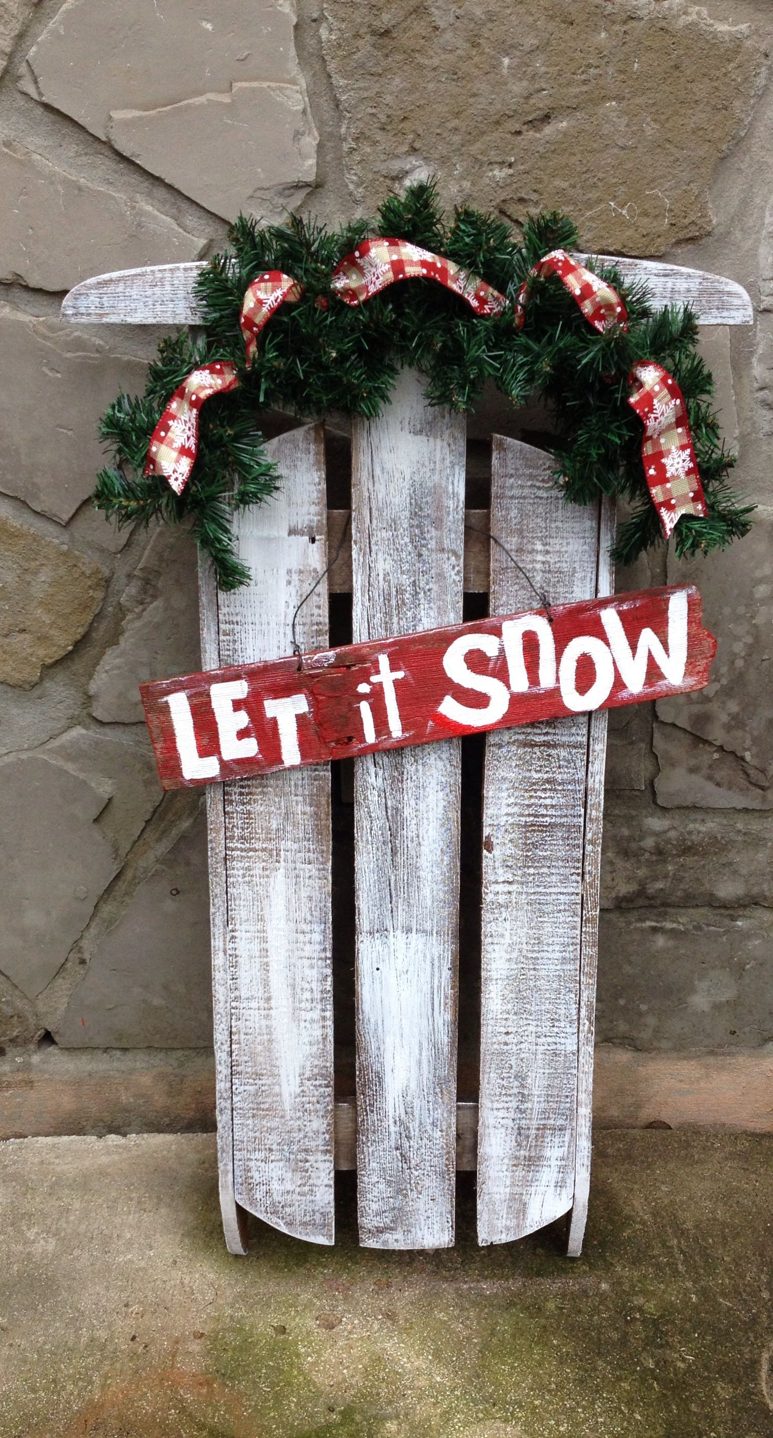 Wooden outdoor christmas decorations - Porch Sled W O Lights