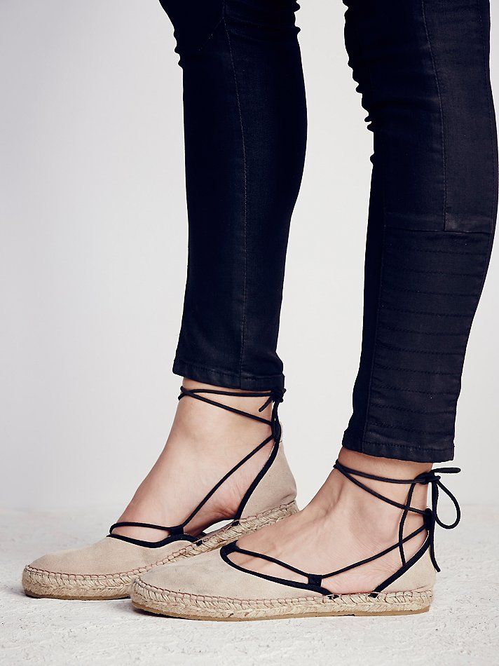 Marina Lace Up Espadrille | Suede espadrilles featuring an adjustable tie that crosses over the ankle for an easy on/off.