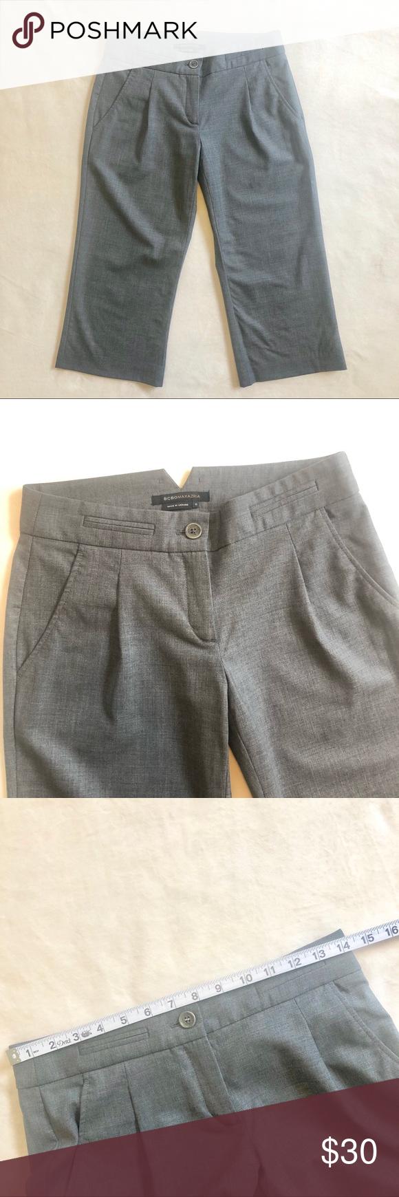 BCBGMaxAzria Collin grey cropped pants EUC size 0 BCBGMAXAZRIA