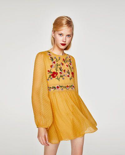 Vestido plumeti amarillo mujer