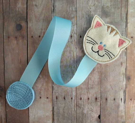 Cat Bookmark, Cream Embroidered Felt Cat with Light Blue Felt Yarn Ball and Grosgrain Ribbon, Teacher Gift, Made in USA
