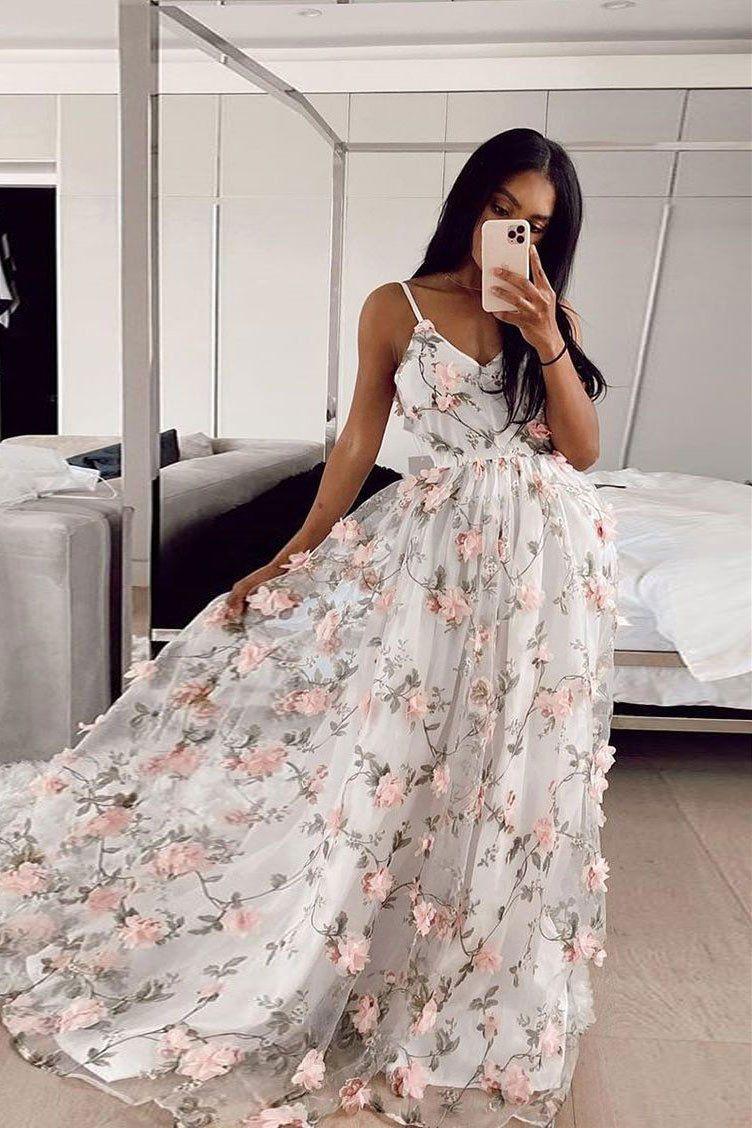 White V Neck Tulle Long Prom Dress White Lace Applique Evening Dress Floral Prom Dresses Trendy Prom Dresses Cute Prom Dresses [ 1128 x 752 Pixel ]