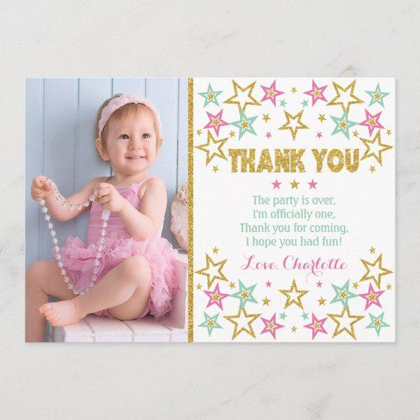 Twinkle Twinkle Little Star Thank You Card Zazzle Com Birthday Thank You Cards Baby Thank You Cards Birthday Thank You