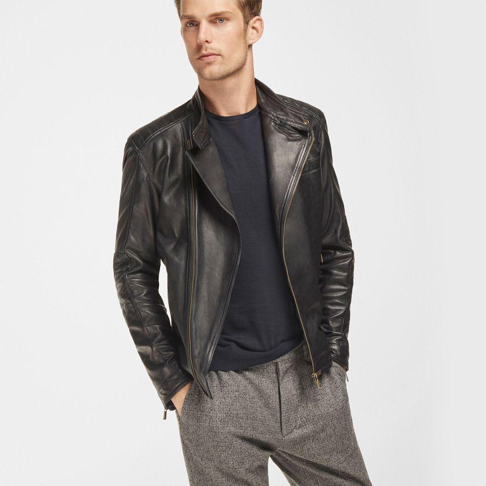 Massimo Dutti Blue Nappa Leather Biker Jacket Leather Jacket Jackets Leather Jacket Black [ 1000 x 1000 Pixel ]