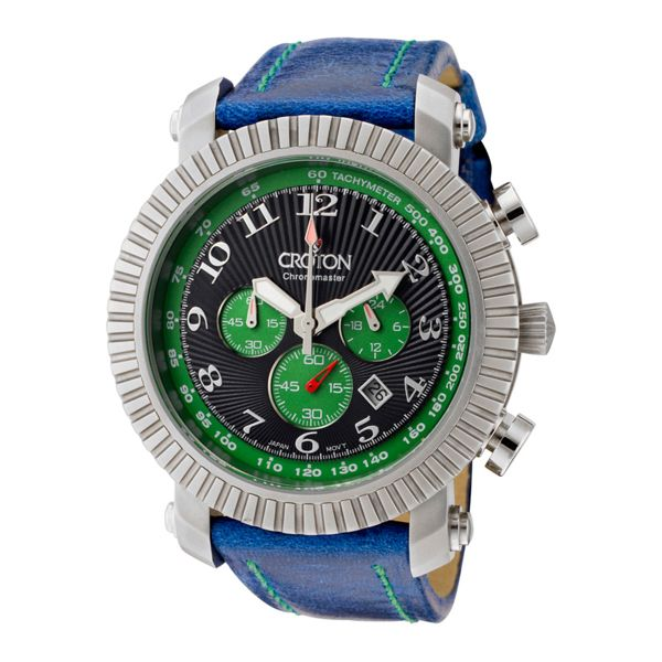 Men's Blue Leather Strap Chronograph - Croton Watch