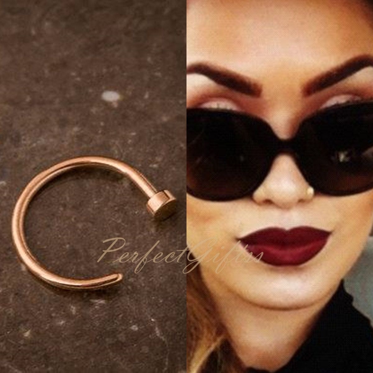 Small Rose Gold Helix Ring, Nose Hoop Nose Ring, Cartilage Earrings,  Nosehoop
