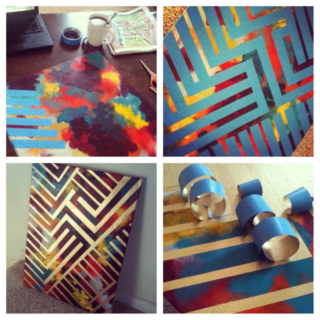 Attractive Spray Paint Design Ideas Part - 2: DIY Painting -- Paint Canvas With Colors, Tape Design With Painters Tape,  Spray