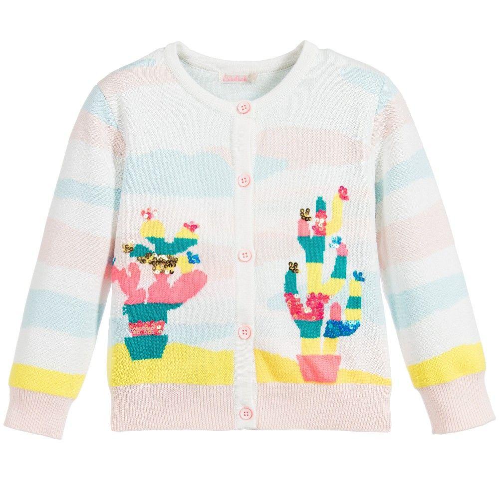 14fbe6dd4 Girls Pink   Blue Stripe Cacti Knitted Cardigan