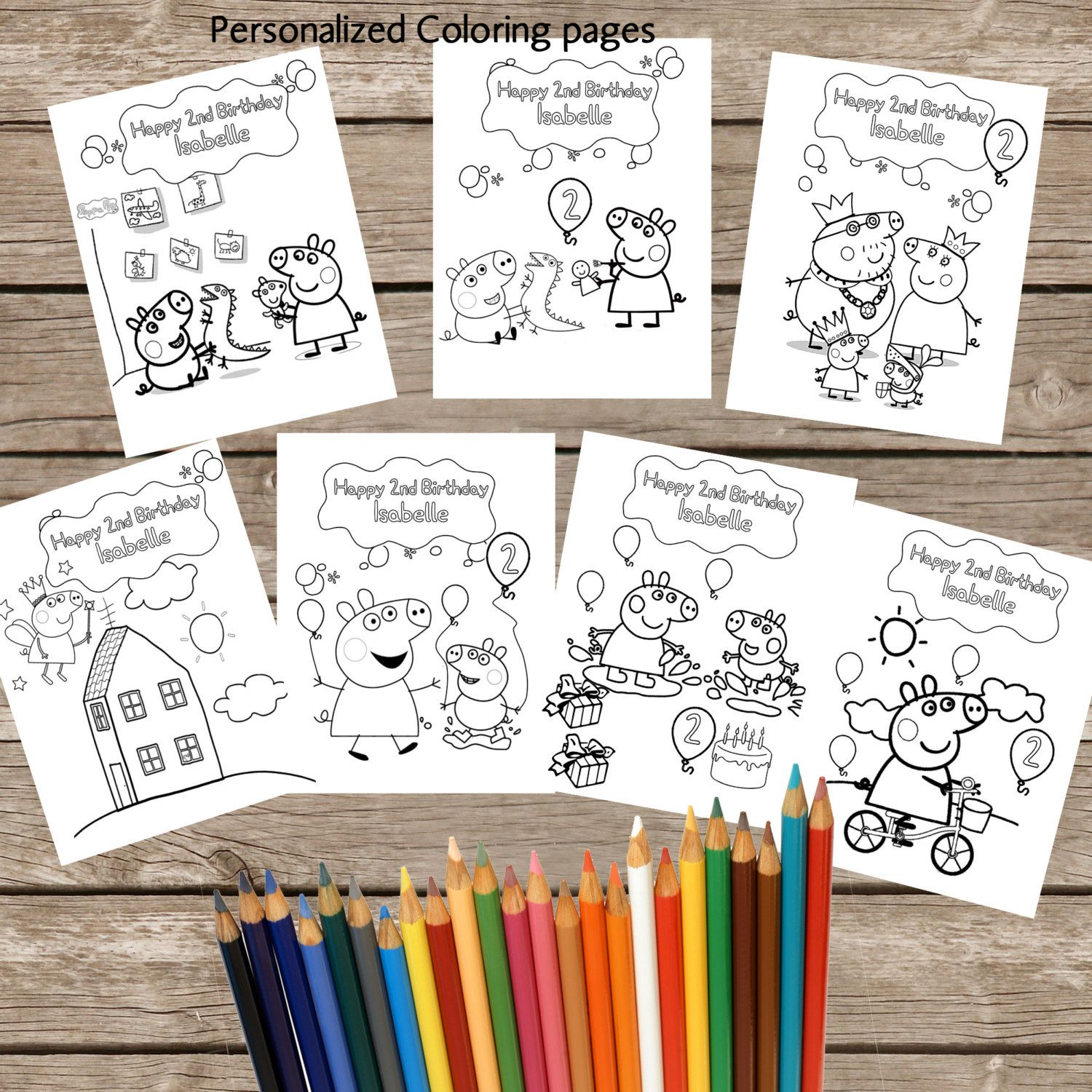 7 Personalized Peppa Pig Coloring Pages Digital
