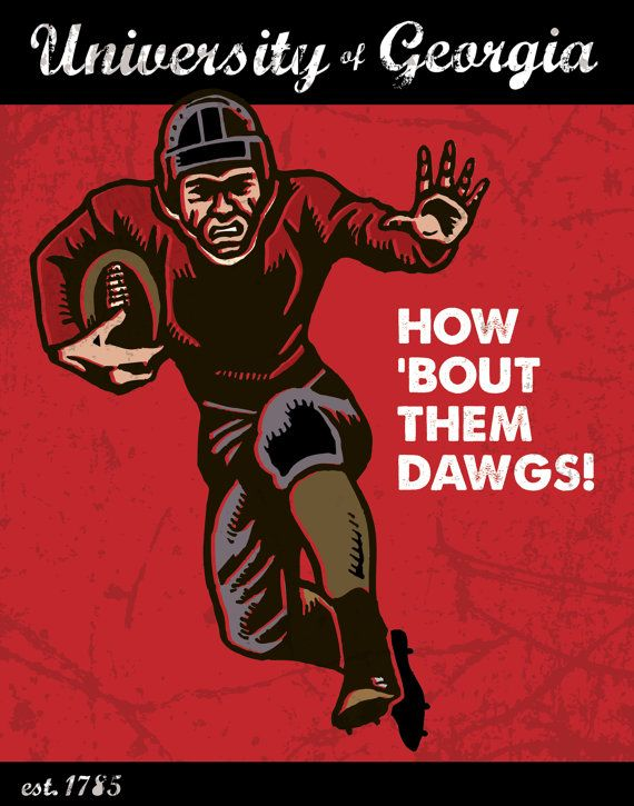 Vintage Uga Bulldogs Poster This Looks Like My Dada S Picture In His House Georgia Bulldogs Shirt Georgia Bulldogs Georgia Dawgs