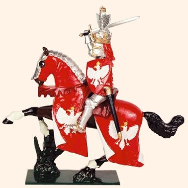 MK04 Toy Soldier Set The King of Poland      54mm Medieval Mounted Knights    All hand painted Toy Soldier sets packed in Red Boxes  Cast in quality white metal, hand painted gloss enamels  Available as unpainted casting, kit with colour photo.
