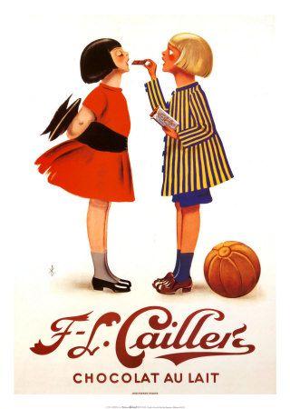 Antiga publicidade Cailler, marca suíça de chocolates!   O modelito da direita é tão engraçado!