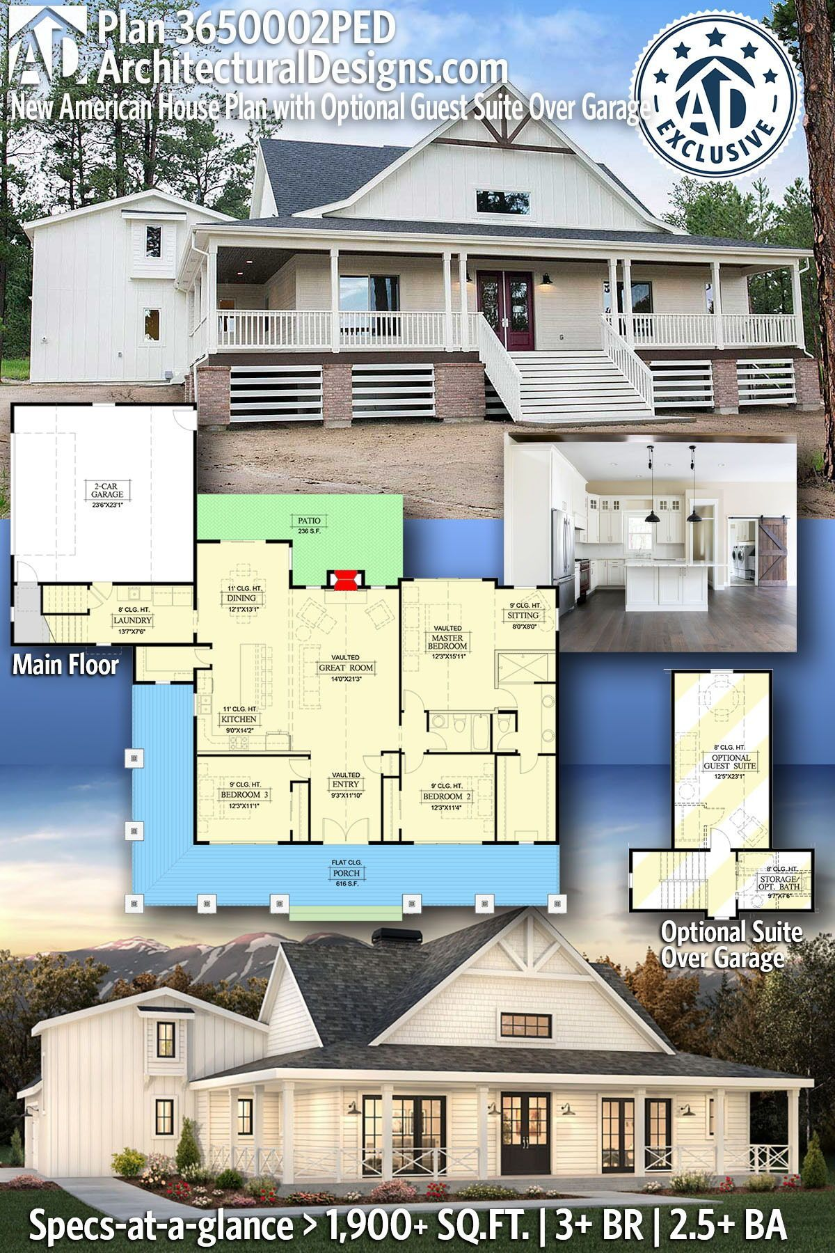 Plan 365002ped New American House Plan With Optional Guest Suite Over Garage Affordable House Plans House Plans Farmhouse Farmhouse Style House Plans