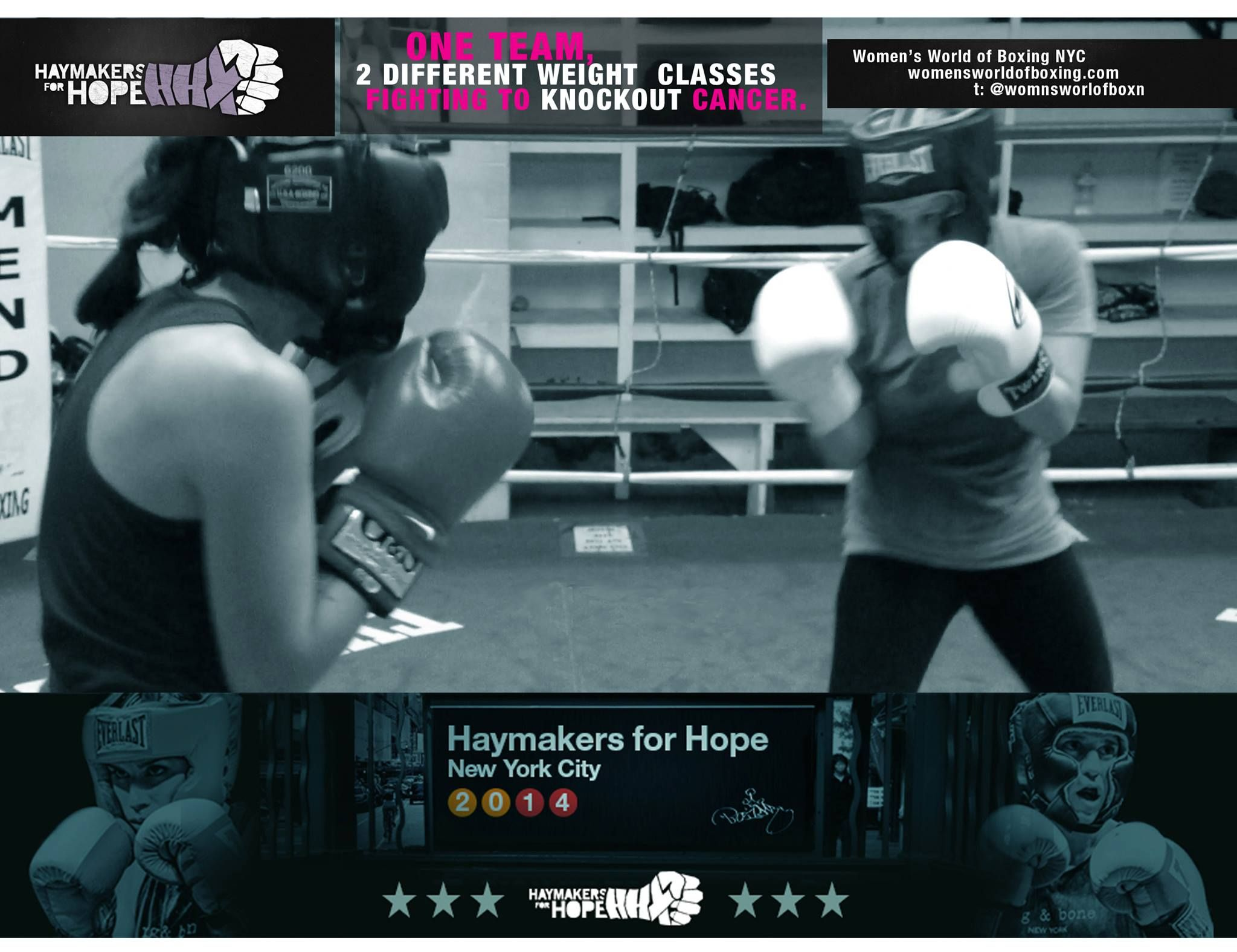 "Haymakers for Hope NYC 2014!  This year Women's World Of Boxing is entering the competing ring for #HaymakersForHope #NYC 2014! Fighting in 2 different weight classes are:  Victoria ""SPARKY"" Chalk: https://www.crowdrise.com/victoriachalkh4hnyc2014/fundraiser/haymakersforhope   Caroline ""TEXAS"" Lents: https://www.crowdrise.com/CarolineLentsh4hnyc2014/fundraiser/haymakersforhope   Please share + pin this post, donate & buy tickets! #Boxing #Knockout #Cancer #2K14 #womensworldofboxing"