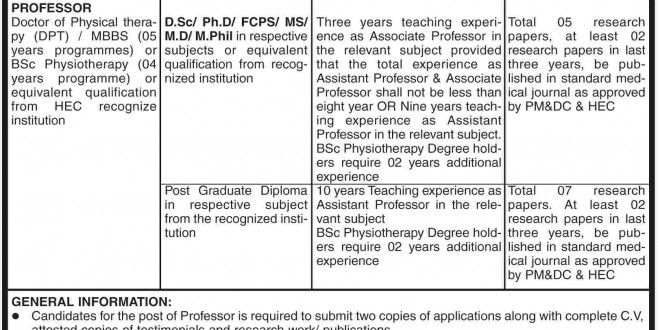 Professor Medicine (Physical therapy) Jobs in University of Sarghoda - physical therapist job description