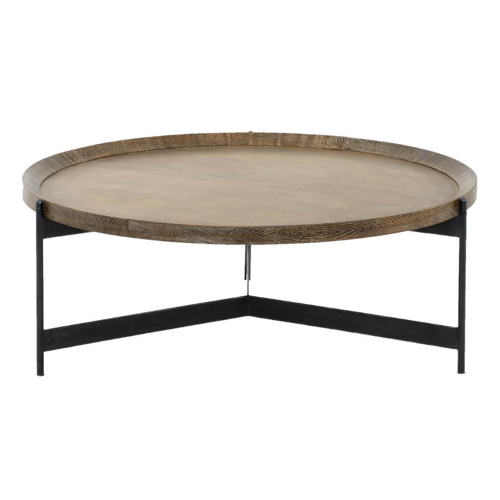 Nathaniel Brass And Oak Round Tray Coffee Table 40 With Images