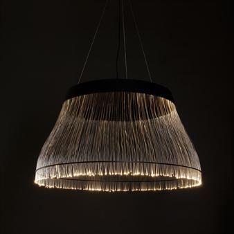 Black fiber optic pendant lamp.