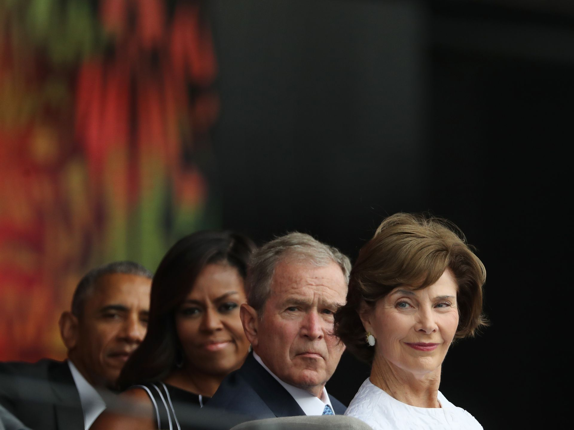 President obama from left first lady michelle obama former president george and laura