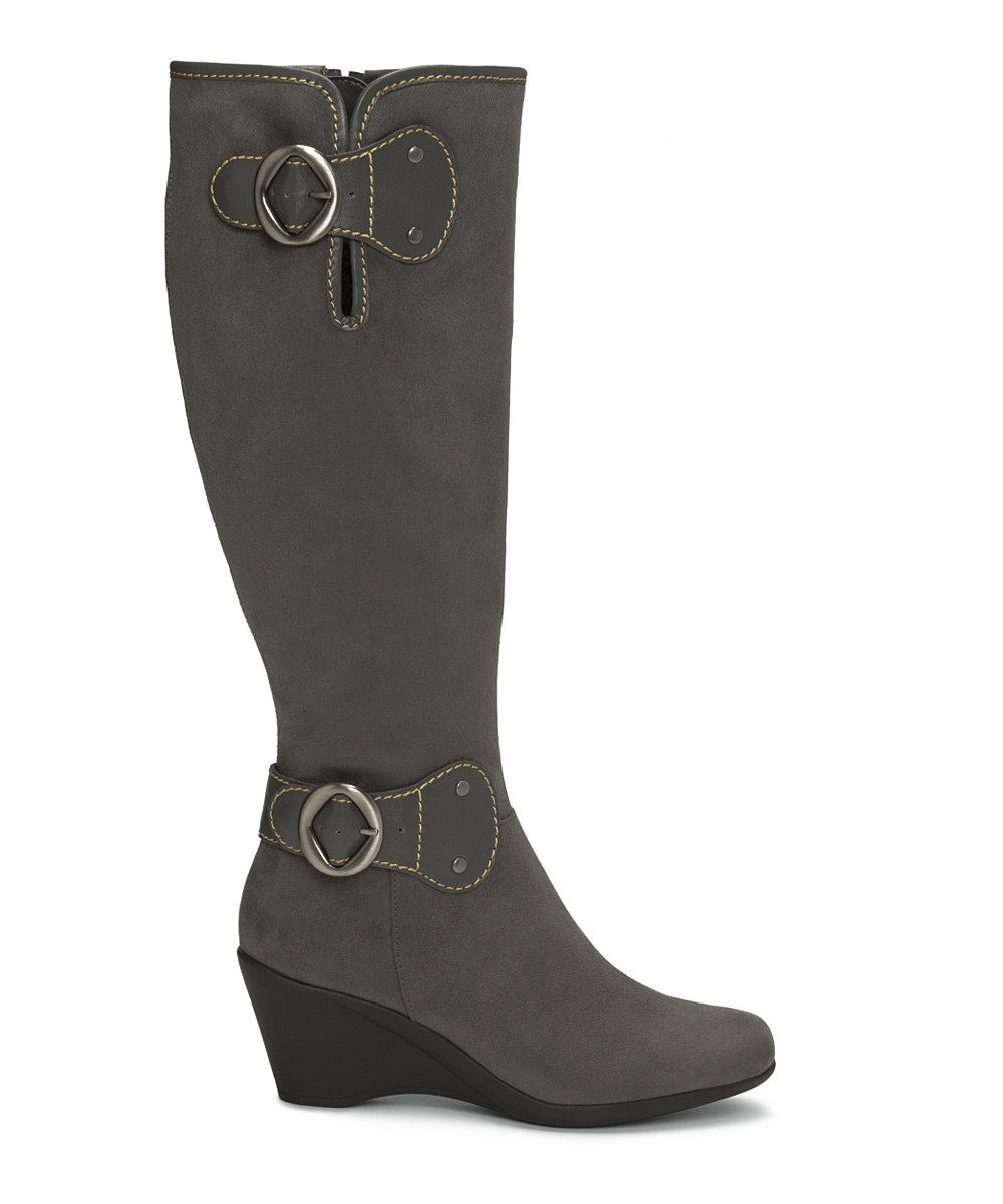 aerosoles aerosoles gray wonderling wedge wide calf boot