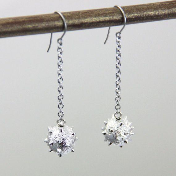 Spike Ball Earrings - Neutral Silver Tone Metal Dangle Earrings - Medieval  Mace Flail Weapon Ball and Chain Charm Drop Earring