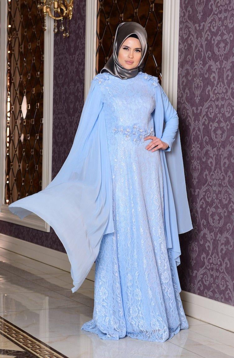 3e3d06a24b9d7 Sefamerve Tesettür Mavi Renk Abiye Elbise - Moda Tesettür Giyim ...