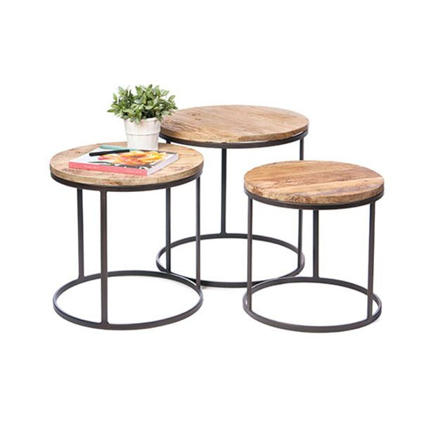 Round Rustic Nesting Tables Set Of 3 Nesting Tables Nesting Tables Living Room Furniture
