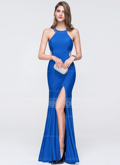 [US$ 139.99] Trumpet/Mermaid Scoop Neck Floor-Length Jersey Prom Dress With Beading Sequins Split Front (018093852)