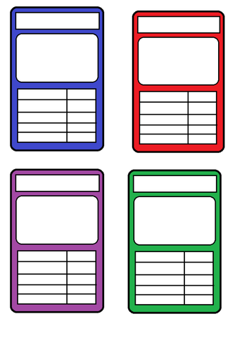 Top Trumps Card Templates  Honours    Top Trumps