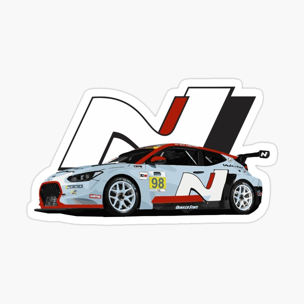 Veloster N Tcr Race Car Glossy Sticker By Fromthe8tees Racing Stickers Race Cars Race Car Stickers [ 1000 x 1000 Pixel ]
