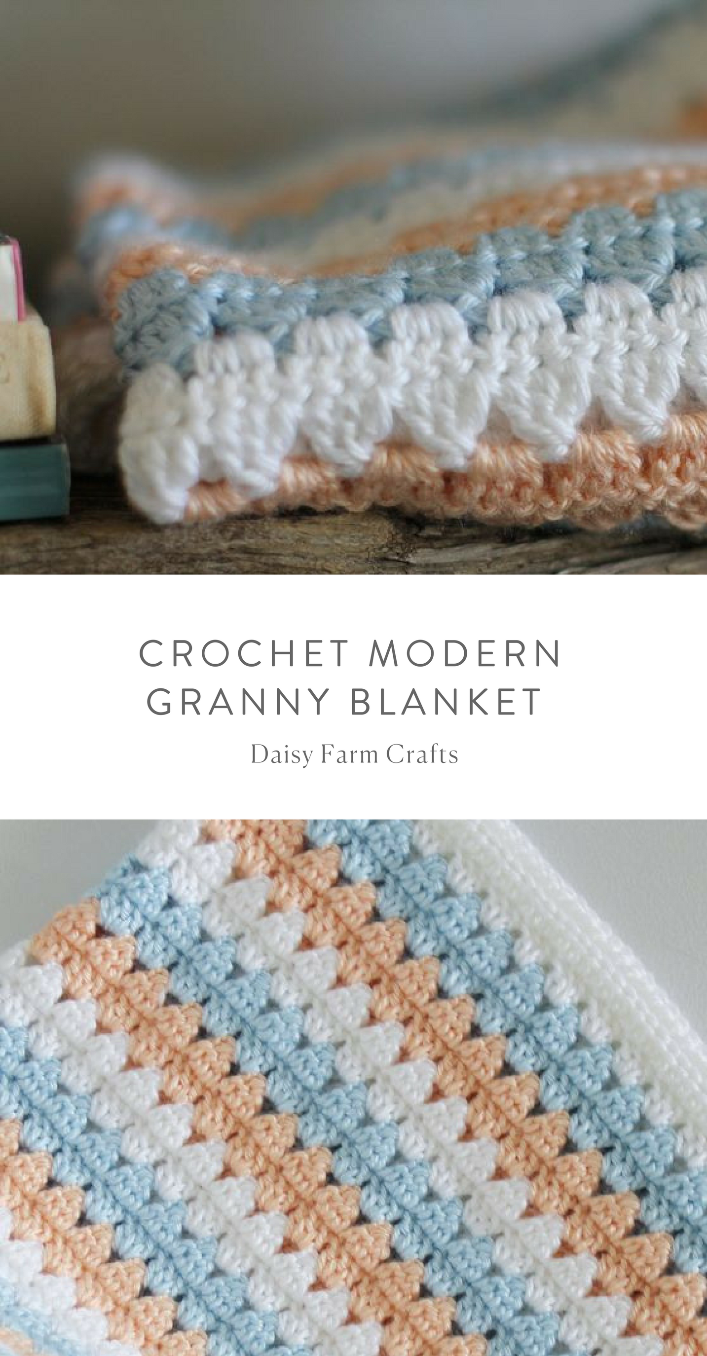 Free Pattern - Crochet Modern Granny Blanket in Peach and Blue ...