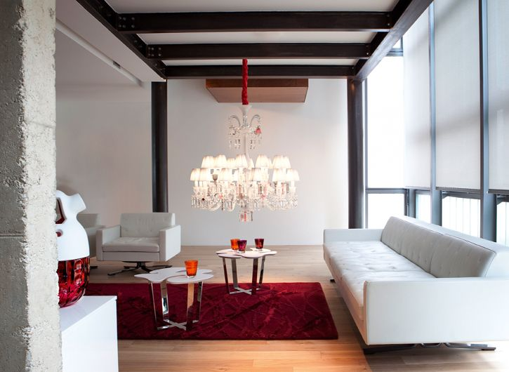 Baccarat lamp by starck red rod