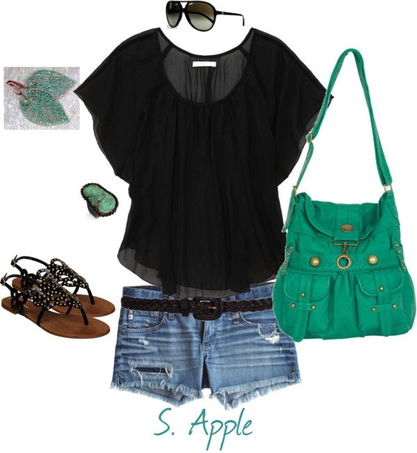 """Black & Teal"" by sapple324 ❤ liked on Polyvore"