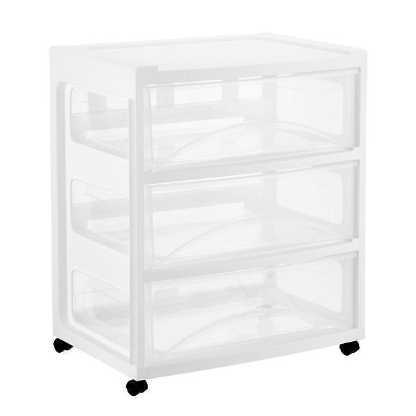 Wide 3 Drawer Chest With Wheels The Container Store 3 Drawer