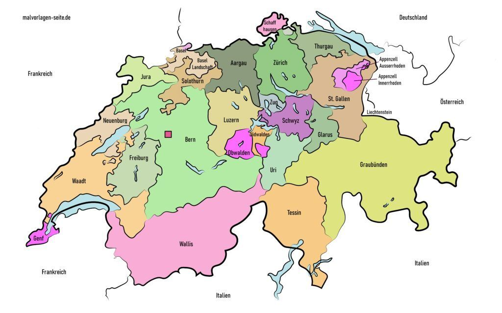 schweiz kantone  karte landkarte  landkarte schweiz
