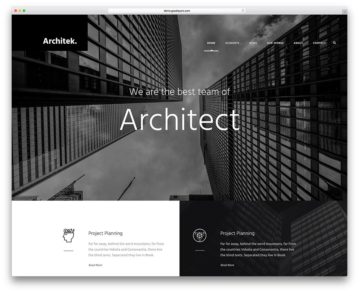 Infinite Best Architect Wordpress Web Template Web