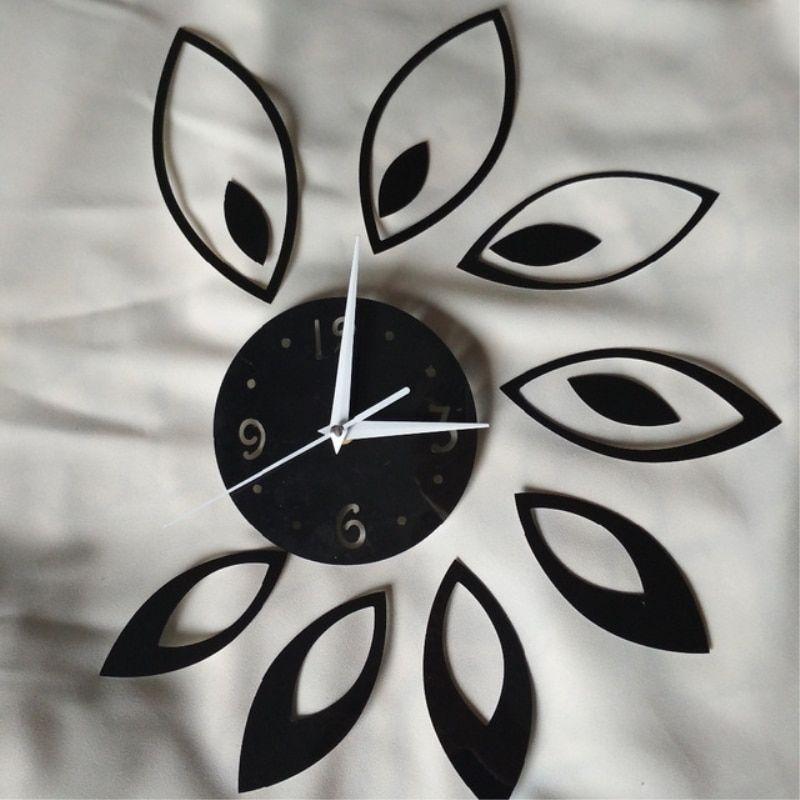 Funlife Creative Rhombus Leaf Mirror Wall Clock Modern Creative