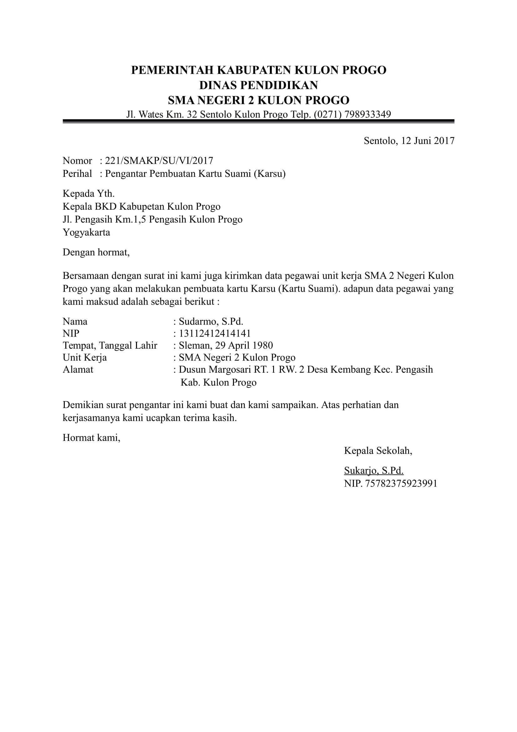 Contoh Surat Pengantar Dari Kepala Sekolah Uts Kelas 6