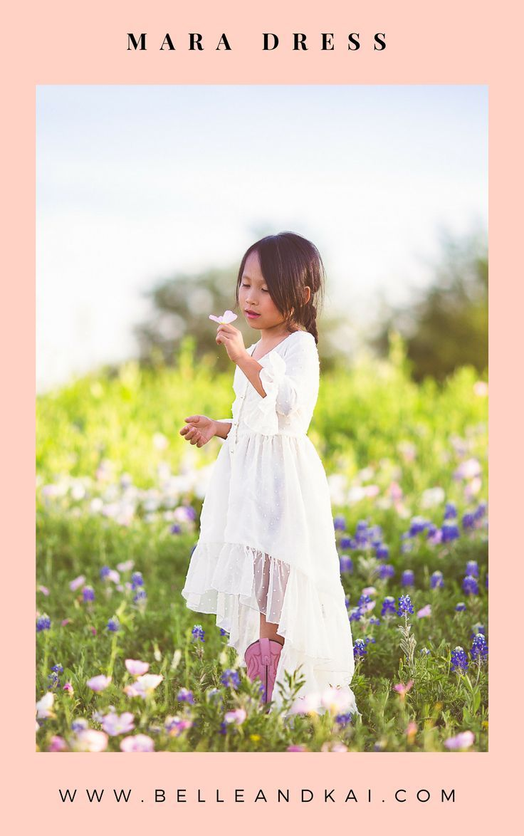 Boho chic ivory high low maxi dress for girls for a flower girl