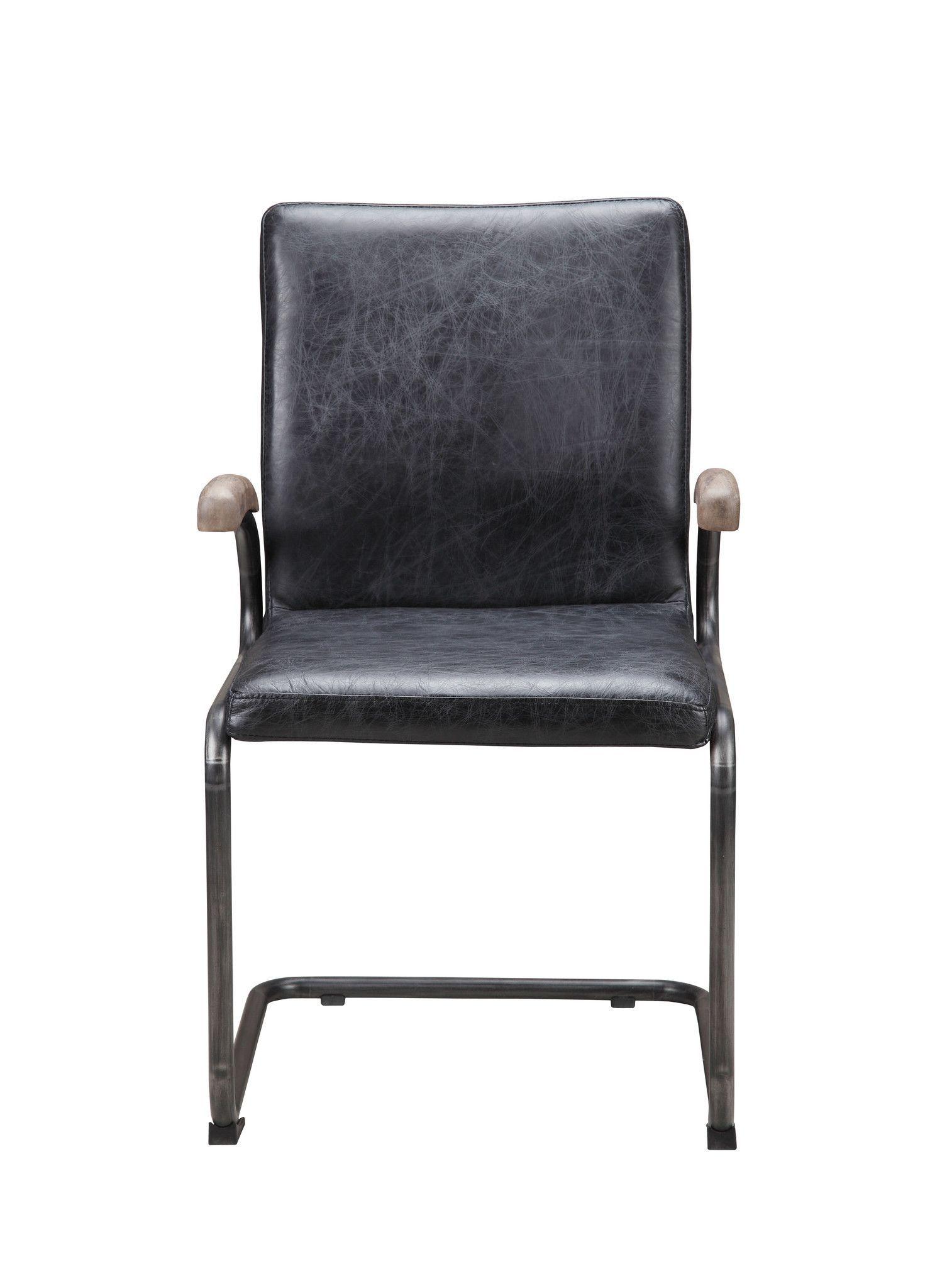 Perth Arm Chair Antique Black (Set Of 2) Top Grain Leather Iron Frame - Perth Arm Chair Antique Black (Set Of 2) Top Grain Leather Iron