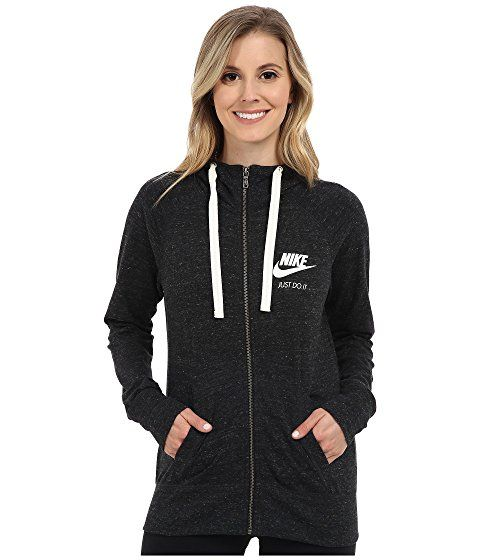the latest cec68 9ef7b Nike Gym Vintage Full Zip Hoodie (Black Sail) Women s Sweatshirt